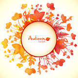 Watercolor painted autumn leaves circle banner Royalty Free Stock Photos