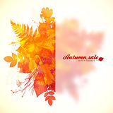 Watercolor painted autumn leaves with plastic Royalty Free Stock Image