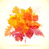 Watercolor painted autumn leaves vector banner Stock Photo
