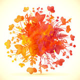 Watercolor painted autumn leaves vector banner Royalty Free Stock Photos