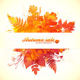 Watercolor painted autumn leaves with white paper Stock Photography