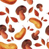 Watercolor painted autumn seamless pattern royalty free illustration