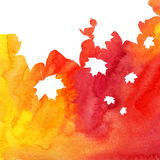Watercolor painted background with white maple Royalty Free Stock Photos