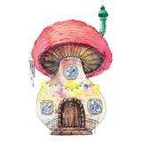 Watercolor painted fantasy fairy house in mushroom. Isolated on white background Stock Images