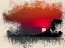 Watercolor painted beach, sunset, orange sky, rocks and trees. Single boat, Halkidiki, Greece vector illustration