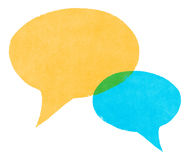 Watercolor Painted Blue and Yellow Speech Bubbles Stock Photos