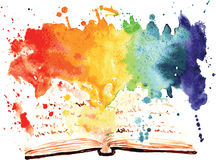 Watercolor painted book containing a worlds Royalty Free Stock Photos