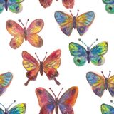 Watercolor painted butterflies Bright seamless pattern. For textile, wallpaper, wrapping, web backgrounds and other pattern fills Vector Illustration
