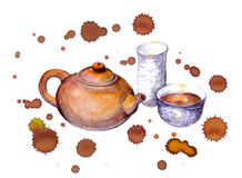 Watercolor painted chinese tea set, color spots, drops Stock Photo