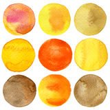 Watercolor painted circles collection Royalty Free Stock Images