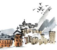 Old town chinese landscape by watercolor. Watercolor painted city landscape in oriental chinese style with mountains, buildings and flying birds royalty free stock images