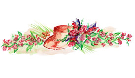 Watercolor painted design with hat and flowers isolated on white. Watercolour painted hat and flowers on white. Vintage style. Can be used for different design Stock Images
