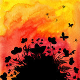 Watercolor painted fire with black flowers and Royalty Free Stock Photos