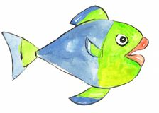 Watercolor painted fish Royalty Free Stock Photography