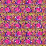Watercolor painted floral repeat background. Pattern in pink, purple, green Stock Photography