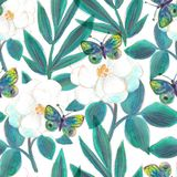 Watercolor painted flowers and butterflies Bright seamless pattern. For textile, wallpaper, wrapping, web backgrounds and other pattern fills Vector Illustration
