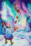 Watercolor painted girl catching santa gifts on the north. Watercolor painted girl catching santa claus gifts on the north during northen lights Stock Photos