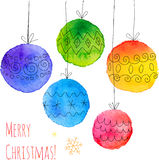 Watercolor painted hand drawn Christmas balls. Watercolor painted hand drawn vector Christmas balls stock illustration