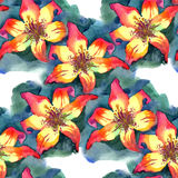Watercolor painted illustration seamless pattern yellow orange red Lily Stock Photo