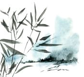 Watercolor painted landscape and tree foliage. Watercolor and ink illustration of landscape and tree foliage in style sumi-e, u-sin. Oriental traditional stock illustration