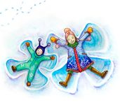 Watercolor painted mom and son. Watercolor painted cute characters — mom and son making snow angels Royalty Free Stock Photo