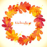 Watercolor painted oak leaves vector wreath Royalty Free Stock Photo