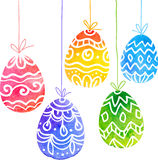 Watercolor painted ornate vector Easter eggs Stock Images