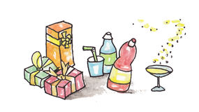 Watercolor painted party. With drinks and colorful presents Royalty Free Stock Photo