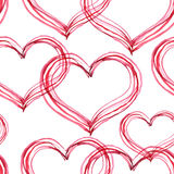 Watercolor painted pattern with hearts Stock Images