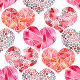 Watercolor painted pattern with hearts Royalty Free Stock Images