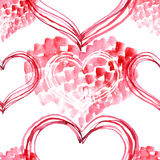 Watercolor painted pattern with hearts Stock Photo
