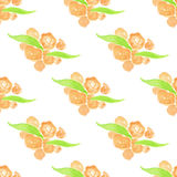 Watercolor painted peach floral seamless pattern. Green branches and leaves. Vector illustration Stock Image