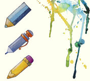 Watercolor painted pencil icons, splashes of paint Stock Photography