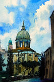 Watercolor painted picture of the Chiesa San Rocco Royalty Free Stock Photography