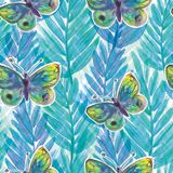 Watercolor painted plants and butterflies Bright seamless pattern. For textile, wallpaper, wrapping, web backgrounds and other pattern fills Royalty Free Illustration