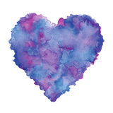 Watercolor painted purple heart, clip art element for your designs. Royalty Free Stock Image