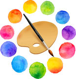 Watercolor painted rainbow colors circles with. Watercolor painted rainbow colors vector circles with brush and wooden palette vector illustration
