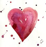 Watercolor painted red heart. Element for your design Royalty Free Stock Photography