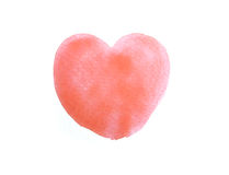 Watercolor painted red heart,  element for your design. Stock Photography