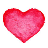 Watercolor painted red heart symbol for your design isolated ove Stock Images