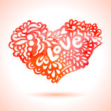 Watercolor painted red heart. Stock Photo