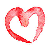 Watercolor painted red heart Stock Photos