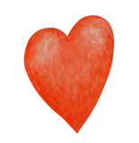 Watercolor painted red heart Stock Image
