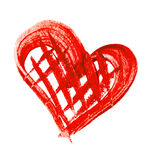 Watercolor painted red heart on white background Royalty Free Stock Photos