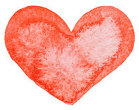 Watercolor painted red heart Stock Images