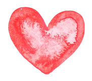 Watercolor painted red heart Stock Photography