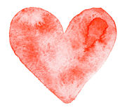 Watercolor painted red heart Stock Photo