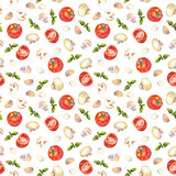 Watercolor painted seamless backdrop with tomatoes, mushrooms, garlic and basil Stock Images