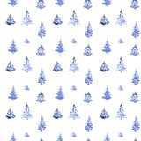 Watercolor painted seamless tree plant pattern. Blue colored/ royalty free illustration