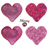 Watercolor painted set vector heart for Valentine Day. Watercolor Hearts and khaki pink heart vector illustration. Royalty Free Stock Image
